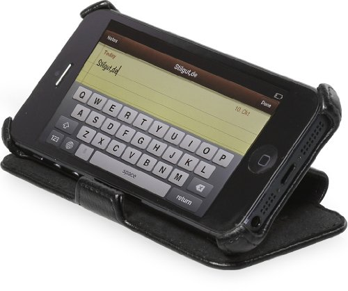 Preisvergleich Produktbild StilGut UltraSlim Case exklusive Tasche mit Standfunktion passend für iPhone 5 & 5s in schwarz