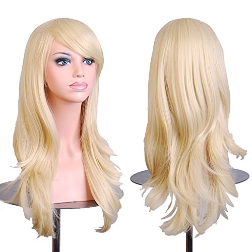 """AneShe Wigs 28"""" Long Wavy Hair Heat Resistant Cosplay Wig for Women (Light Blonde)"""