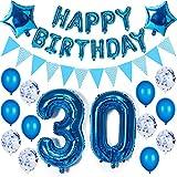 Decoración de cumpleaños para hombre, color azul, 30 años, 30 globos