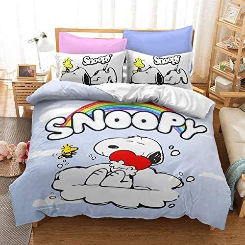 QWAS Juego de cama con diseño de Snoopy, 3 piezas, 1 funda nórdica y 2 fundas de almohada, funda nórdica con estampado 3D, sábana infantil (R1,200 x 200 cm + 80 x 80 cm x 2).