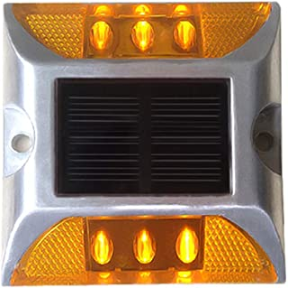 Solar Raised Pavement Marker High Brightness IP68 Waterproof Solar Powered Reflector Road Outliner Solar Blinker Light for Anti-diecast Aluminum Protruding Signs Safety Warning (2, Yellow)