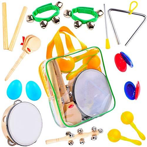 Musikmacher Set - 13PCS Musikalische Holzinstrumente - Tamburin, Kastagnetten, Maracas, Trommel, Triangel,...