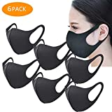 Unisex Face Mask Dust Mask Anti Pollution Mask Reusable Mouth Masks for Cycling Camping Travel Black 6 pcs
