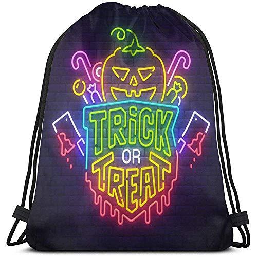 Bolsas con cordón para Gimnasio Happy Halloween Letrero de neón Bolso de extracción de Cuerda Brillante Bolsas de cincho livianas Bolsa de Almacenamiento portátil