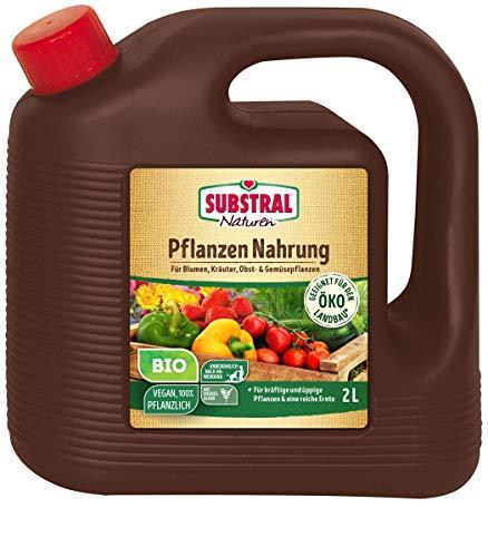 Substral Naturen Bio Pflanzen-Nahrung, Rein pflanzlicher, veganer Universal-Flüssigdünger für Zierpflanzen, Obst & -Gemüse im Kübel auf Balkon, Terrasse und Garten, 2 Liter Kanister