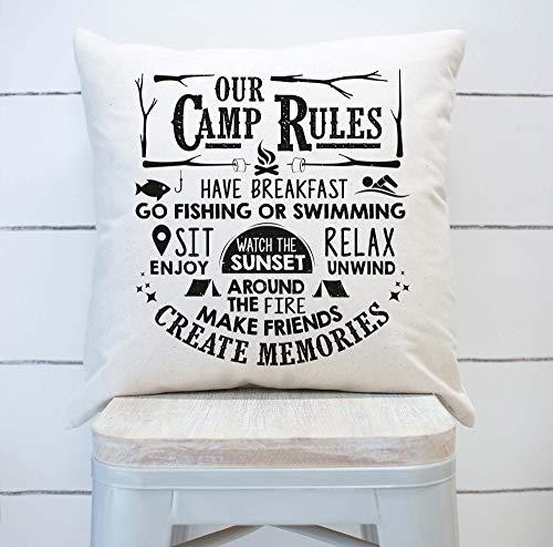 Funda de almohada Our Camp Rules, decoración de verano, decoración de camper, cámara de verano