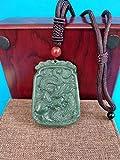 K-ONE Collana con Ciondolo in Giada Verde Bottiglia Collana con amuleto di Giada Intagliato a Mano Drago del Sole Lucky