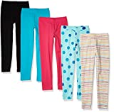 Amazon Essentials 5-Pack Girls Legging Leggings-Pants, Paquete de 5 Rayas arcoíris, 6-7 años, Pack de 5