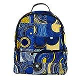 TIZORAX Mochila para portátil con patrón de círculos y cuadrados abstractos, casual, mochila de hombro para estudiantes, mochila escolar, bolso de mano, ligera