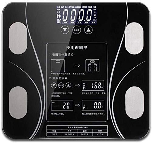 Básculas de baño Báscula de peso de grasa corporal inteligente Balanza de pesaje digital para el hogar Conectar composición LED Electrónico-USB-Usb Negro