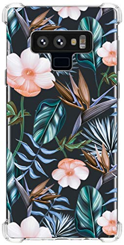 IiEXCEL Galaxy Note 9 Case Colorful Flowers, Cute Banana Leaf Flower Floral Pattern Clear TPU Bumper Protective Case Cover for Samsung Galaxy Note 9 - Dark Green