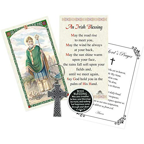 St Patrick Prayer Card, Irish Blessing Coin, Celtic Cross Keychain, The Lord's Prayer | Total 4 Items in Set