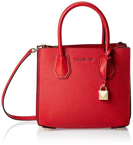 Michael Kors Damen Mercer Pebbled Leather Accordion Crossbody Umhängetasche, Rot (Bright Red), 10.2x19x21.6 cm