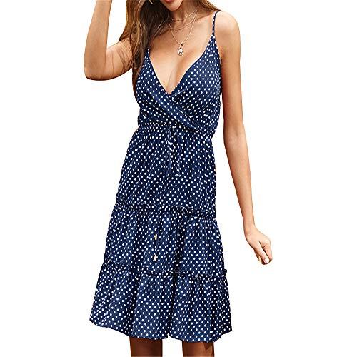 ZFQQ Sommer Print Retro Plissee Blumen Wave Dot Hosenträger Kleid 2020 sexy rückenfrei ärmellos