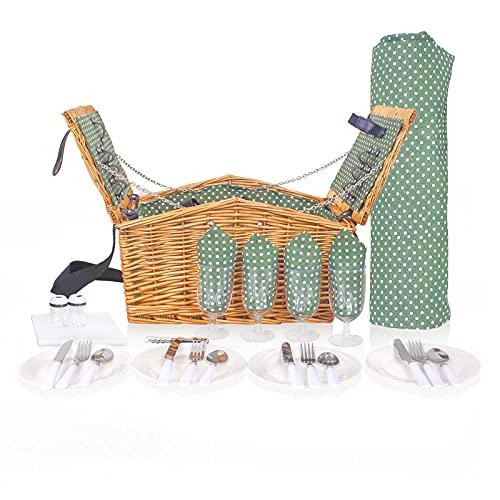 Cesta de mimbre para 4 personas | Cesta de picnic de mimbre tradicional, cesta de picnic de sauce con asa fácil de llevar con compartimento aislado y juego de vajilla (apertura de puerta doble)