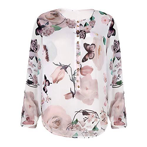 camicia donna hawaii Maglietta Camicia Maglia Camicie Donne Eleganti Camicetta da Donna T-Shirt con Bottoni Stampati Floreali Casual Top in Chiffon con Orlo Irregolare (XL