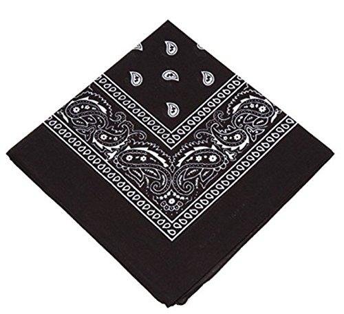 [Venditore UK] Uomo/Donna Bandana Testa Sciarpa Sciarpe Motivo Cachemire 100% Cotton - Nero, One size