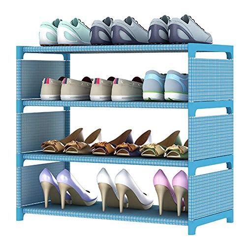 XBCDX Estantes para Zapatos, Organizador Reforzado para estantes de Zapatos, 4-6 Niveles, Extensible y apilable, Montaje rápido, Estante para Acabados en el Dormitorio, Azul, 4