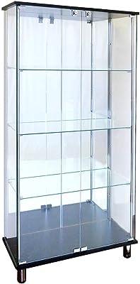 ガラスコレクションケース JONY ジョニー 鍵付 ガラスケース ディスプレイラック 地球家具 コレクションラック (ガラスケース本体(ワイド幅80cm ハイ)背面ミラータイプ, ブラック)※LEDは別売です