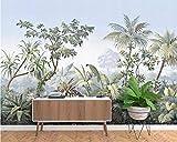 Europäische Retro- Hand gezeichnete Tapete des Gartenbaum-Regenwaldbananen-Kokosnussbaum-Tapetenfernsehhintergrundes 3d-300cmx210cm