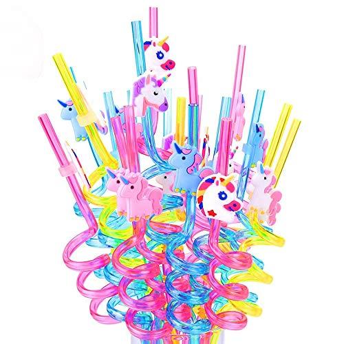 20 Piezas Pajitas de Unicornio para Beber, Pajitas de Plástico de Unicornio, Decoración de Mesa de Fiesta, Suministros de Barbacoa, para Regalo de Fiesta de Cumpleaños para Niños, Multicolores
