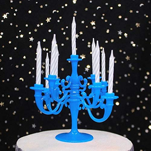 Qingsb 9 stks kaarsen en kandelaar beugel 1 set cake topper verjaardagsfeestje cake kandelaars toppers decoratie kinderen, blauw
