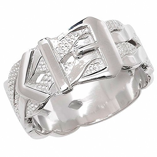 Men's Buckle Ring Heavy Solid Sterling Silver Patterned Gents Band (V)