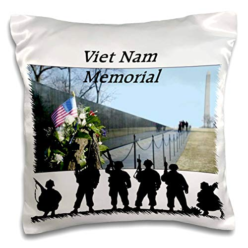 3dRose lens Art by Florene - Memorial Day - Image of Viet Nam Memorial With Silhouette Soldiers - 16x16 inch Pillow Case (pc_309798_1)
