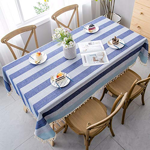 XIAOE Home Decoration Washable Cotton Linen Table Cloth Stitching Tassel Design Tablecloth Simple Nordic Style Tablecloth Dust Proof Cotton Linen Table Cover 60 * 60cm