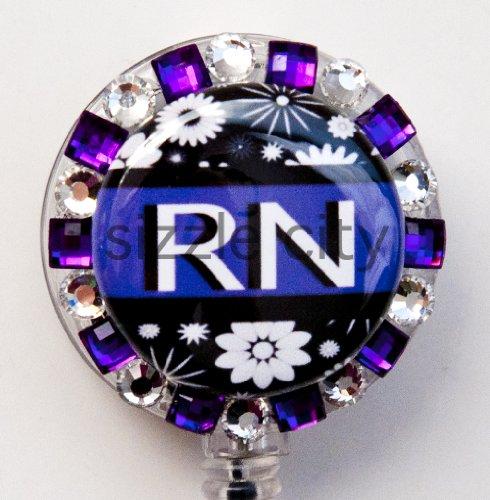 PURPLE STONES AND FLOWER RN LOGO Nurse Rhinestone Retractable Badge Reel/ ID Badge Holder