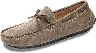 男士革靴 男性のための快適な通気性ペニーローファー本革軽量フラットカジュアルシューズちょう結び滑り止めスリップオン 個性な (Color : カーキ, サイズ : 25.5 CM)