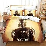 Star Wars Funda nórdica The Mandalorian 3D con estampado Juego de ropa de cama 2 piezas incluyen 1 funda nórdica y 1 fundas de almohada (M6, individual 135 x 200 cm)