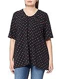 Ulla Popken Shirt mit Minimal-Blütenmuster. Leicht gekräuselter V-Aussch Camiseta, Schwarz, 58-60 para Mujer