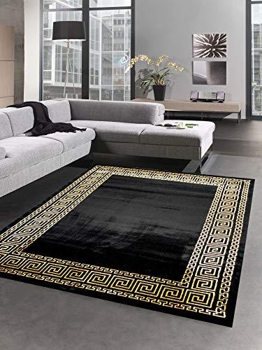 CARPETIA Teppich Wohnzimmer mit Bordüre im Mäander Muster schwarz Gold Größe 160x230 cm