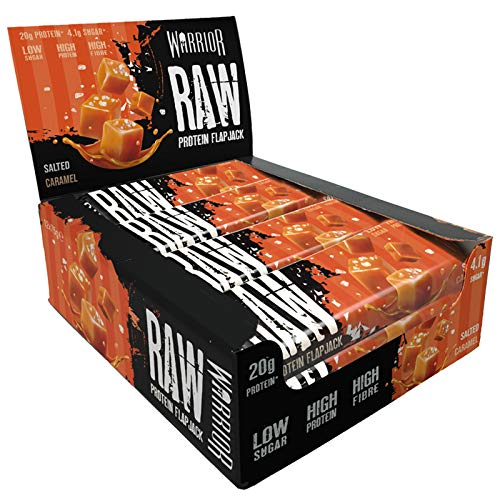 Warrior Raw Protein Flapjacks 12 Bars x 75g Each - Packed with 21g of Protein   Warrior Supplements (Salted Caramel)