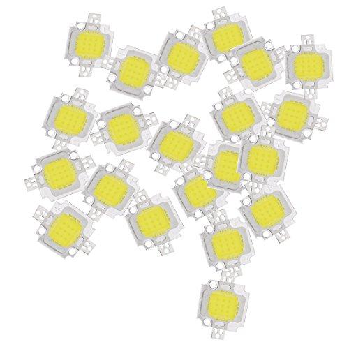Lot de 20 puces pour ampoule LED SMD, 10 W, blanc pur, haute puissance, 1 100 lm, 9-12 V CC - Sodial®
