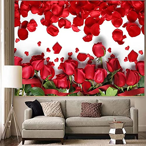 Colorido-Floral-Plantas-Tapiz-Rosa-Flor-Boda-Arte de pared-Tapices para colgar en la pared-para-sala de estar 150X200CM