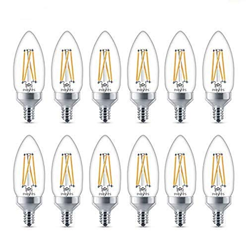 Philips LED Classic Glass Dimmable B11 Light Bulb: 300-Lumen, 2700-Kelvin, 3.3-Watt (40-Watt Equivalent), T20 Certified, E12 Base, Warm Glow, 12-Pack...