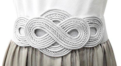 BRANDELIA Cinturón Elástico Mujer Fiesta Estilo Cordón de Seda para Combinarlo Con Vestidos o Faldas Accesorio Elegante, Plateado