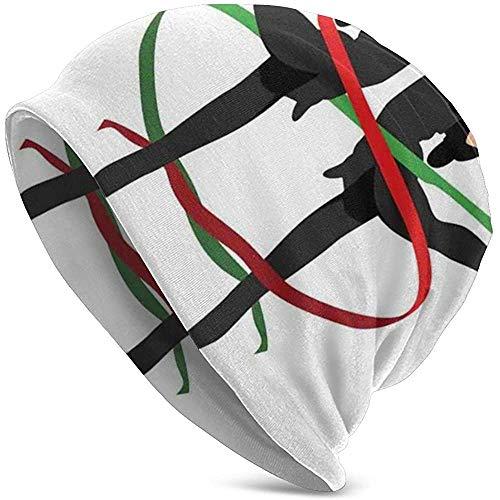 Marlon Kitty Ribbon Dancing Olympic Sports Pattern mit symmetrischen Turnerinnen Figuren Unisex Beanies Caps Hut Tough Headwear