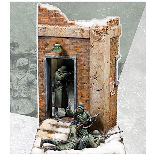 weizhang 1/35 Restos de la guerra, 3 soldados de la Segunda Guerra Mundial (con escenas), kit de resina sin pintar
