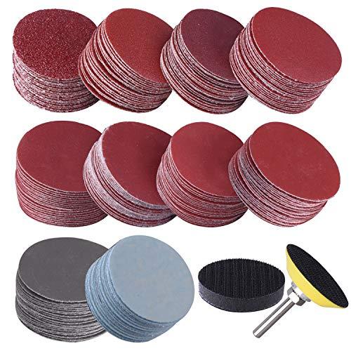 SIQUK 200 Stück Schleifpapier Klett 50mm Körnung je 80 180 240 320 400 600 800 1000 2000 3000 mit 1 Stück Polierpad Adapter