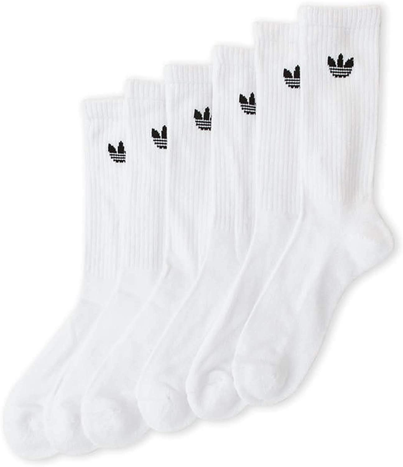 6 Gifts Pair Mens Adidas Cushioned Crew Striped Cuff Socks White A surprise price is realized Black