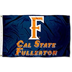 3'x5' in Size with two Metal Grommets for attaching to your Flagpole Made of 100% Nylon with Quadruple Stitched Flyends for Durability, 150d Thickness, Imported The Cal State Fullerton Logos are viewable on Both Sides (Opposite side is a reverse imag...