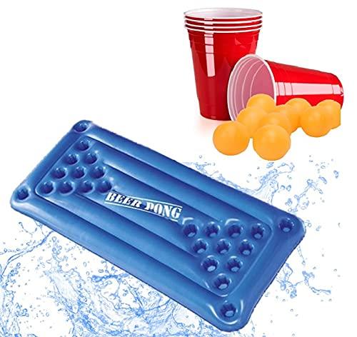XXL Beer-Pong-Matratze | PREMIUM Bier-Pong-Matratze | INKL 25 rote Becher & Bälle | Aufblasbare Bierpong-Luftmatratze/ aufblasbarer schwimmender Beerpong-Tisch | Pool Matraze & Red Cups f. Poolparty