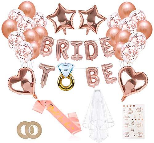 Jiahuade JGA Deko Ballons Rosegold Set, Braut to Be Deko, Junggesellenabschied Deko mit Banner Folienballons Rosegold, Schärpe, Braut Tattoo, Rosegold Luftballons und Brautschleier
