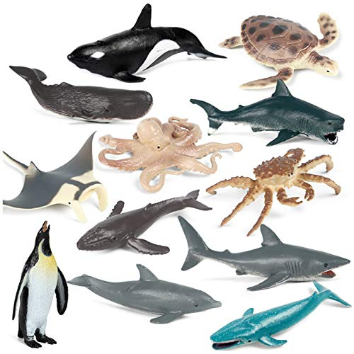 Zoo Animals,Mini Safari Animals Statue Realistic Plastic Sea Animal Statue Toy,Kid's Party Supplies Cake Topper Including Penguins, Turtles, Octopus, Humpback Whales, Whales, Sharks, Dolphins(12pcs)