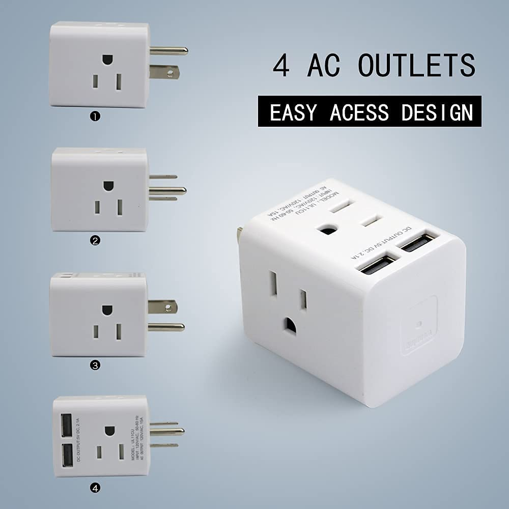 Multi Plug Outlet Extender with USB,Wonplug Plug Adapter with 4 AC Sockets and 2 USB Ports,Multiple Plug Outlets Splitter Expander Cube Portable Design for Home Office Cruise Ship Travel,White