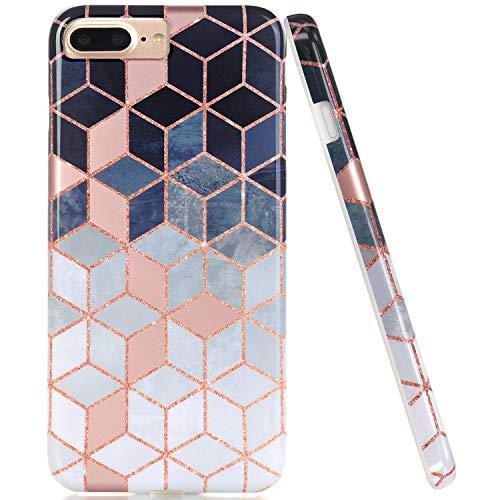 JAHOLAN Shiny Rose Gold Gradient Cubes Design Clear Bumper TPU Soft Rubber Silicone Cover Phone Case for iPhone 7 Plus/8 Plus/6 Plus/6S Plus - Brown