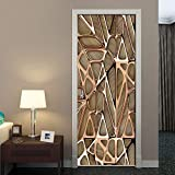 LMHWW 3D Door Sticker for Interior Door Rose Gold Geometric Pattern Creativity Removable Murals Wallpaper for Bedroom Living Room Gift Art PVC Waterproof Decal Door Home Decoration 77X200CM
